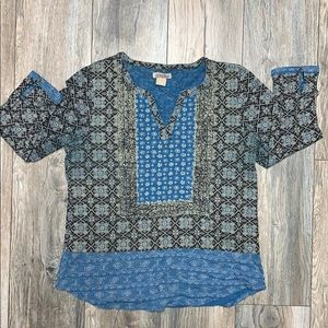 Blue boho pattern top